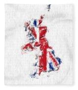United Kingdom Painted Flag Map Fleece Blanket