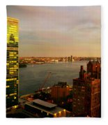 United Nations Building At Nightfall With Chrysler Building Reflection - Landmark Buildings  Fleece Blanket