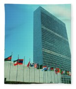 United Nations Building With Flags Fleece Blanket