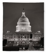United States Capitol At Night Fleece Blanket