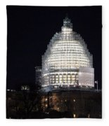 United States Capitol Dome Scaffolding At Night Fleece Blanket