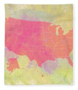 United States Map - Red And Watercolor Fleece Blanket