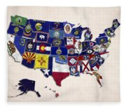United States Map With Fifty States Fleece Blanket