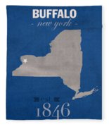 University At Buffalo New York Bulls College Town State Map Poster Series No 022 Fleece Blanket