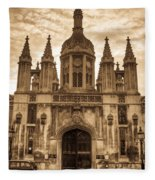 University Entrance Door Sepia Fleece Blanket
