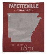 University Of Arkansas Razorbacks Fayetteville College Town State Map Poster Series No 013 Fleece Blanket
