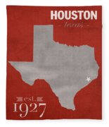 University Of Houston Cougars Texas College Town State Map Poster Series No 045 Fleece Blanket