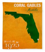 University Of Miami Hurricanes Coral Gables College Town Florida State Map Poster Series No 002 Fleece Blanket