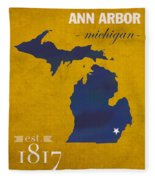 University Of Michigan Wolverines Ann Arbor College Town State Map Poster Series No 001 Fleece Blanket