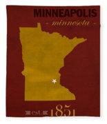 University Of Minnesota Golden Gophers Minneapolis College Town State Map Poster Series No 066 Fleece Blanket