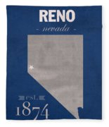 University Of Nevada Reno Wolfpack College Town State Map Poster Series No 072 Fleece Blanket