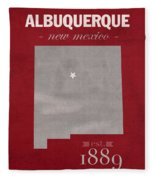 University Of New Mexico Albuquerque Lobos College Town State Map Poster Series No 074 Fleece Blanket