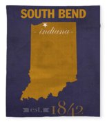 University Of Notre Dame Fighting Irish South Bend College Town State Map Poster Series No 081 Fleece Blanket