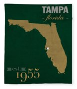 University Of South Florida Bulls Tampa Florida College Town State Map Poster Series No 101 Fleece Blanket