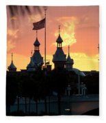 University Of Tampa Minerets At Sunset Fleece Blanket