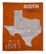 University Of Texas Longhorns Austin College Town State Map Poster Series No 105 Fleece Blanket
