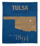University Of Tulsa Oklahoma Golden Hurricane College Town State Map Poster Series No 115 Fleece Blanket