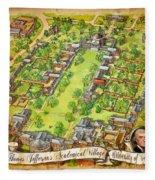 University Of Virginia Academical Village  With Scroll Fleece Blanket