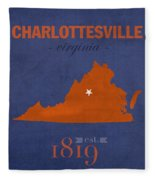 University Of Virginia Cavaliers Charlotteville College Town State Map Poster Series No 119 Fleece Blanket