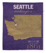 University Of Washington Huskies Seattle College Town State Map Poster Series No 122 Fleece Blanket