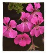 Pink Geranium Flower Fleece Blanket