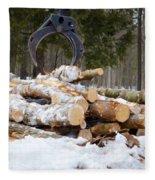 Unloading Firewood 3 Fleece Blanket
