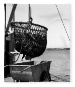 Unloading Fish From Monterey's Wharf Two Circa 1950  Fleece Blanket