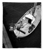 Unloading Fish At Wharf Two Monterey  Circa 1950  Fleece Blanket