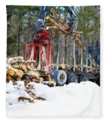 Unloading Of Logs On Transport Fleece Blanket