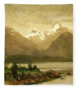 Untitled Mountains And Lake Fleece Blanket