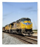Up 8587 Southbound From Traver Fleece Blanket