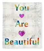 Uplifting Art - You Are Beautiful By Sharon Cummings Fleece Blanket