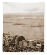 Upper New York Bay Vintage Fleece Blanket