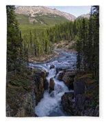 Upper Sunwapta Falls - Canadian Rockies Fleece Blanket