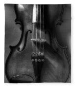 Upright Violin Bw Fleece Blanket