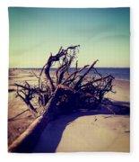 Uprooted Tree On The Beach Fleece Blanket