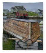 Upside Down Boat In Peggy's Cove Harbour Fleece Blanket