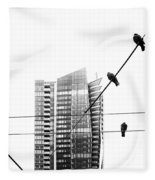Urban Pigeons On Wires Fleece Blanket