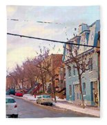 Urban Winter Landscape Colors Of Quebec Cold Day Pointe St Charles Street Scene Montreal  Fleece Blanket