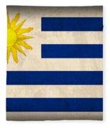 Uruguay Flag Vintage Distressed Finish Fleece Blanket
