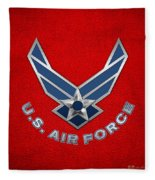 U. S. Air Force  -  U S A F Logo On Red Leather Fleece Blanket