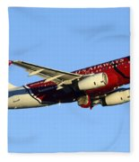 Us Airways Airbus A319-132 N837aw Arizona Cardinals Phoenix Sky Harbor December 24 2014  Fleece Blanket