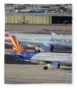 Us Airways Airbus A319 N826aw Arizona American Boeing 787 N801ac Phoenix Sky Harbor March 10 2015 Fleece Blanket