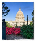 Us Capitol And Red Azaleas Fleece Blanket
