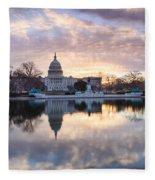Washington Dc Us Capitol Building At Sunrise Fleece Blanket