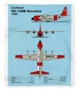 Coast Guard Hc-130 B Hercules Fleece Blanket