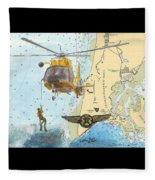 Us Coast Guard Rescue Swimmer Nautical Chart Art Cathy Peek Fleece Blanket