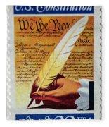 Us Constitution Stamp Fleece Blanket