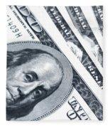 Us Dollar Bills  Fleece Blanket