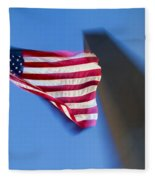 Us Flag At Washington Monument At Dusk Fleece Blanket